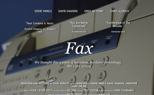 scrrenshot of HTML movie poster called Fax with a fax background and tagline of old tech coming alive