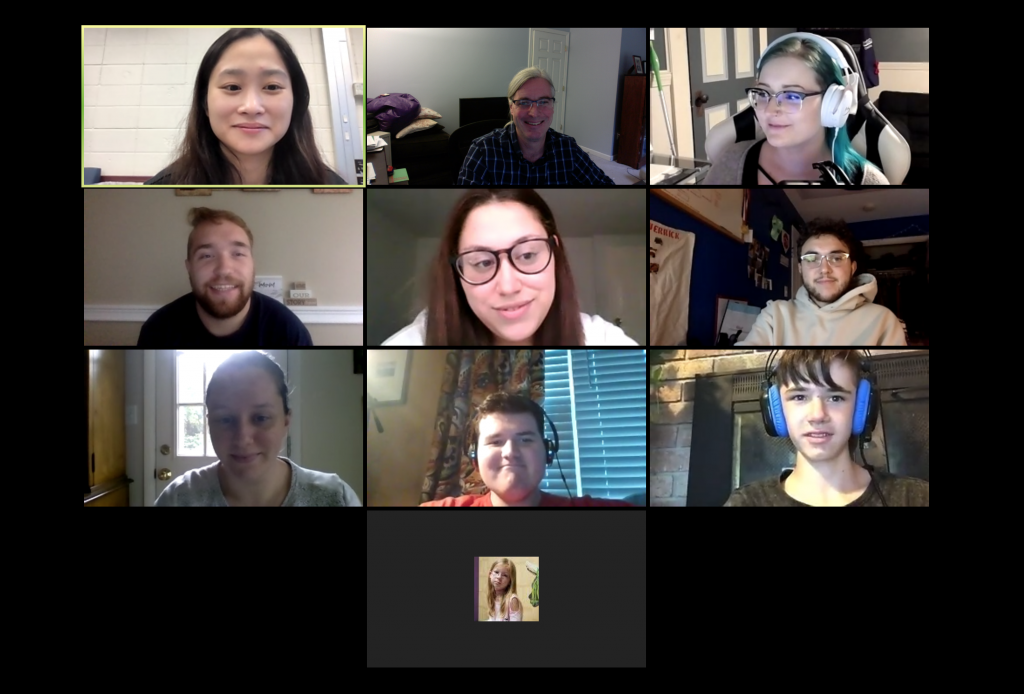 grid of ten people on a zoom call